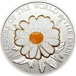 DAISY CLOISONNE Flower Silver Coin 5$ Cook Islands 2011