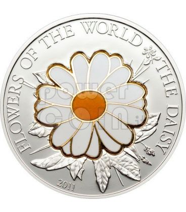 DAISY CLOISONNE Flower Silver Coin 5$ Cook Islands 2011