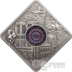 NOTRE DAME CATHEDRAL Sacred Art Holy Windows Серебро Монета 10$ Палау 2017