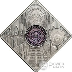 NOTRE DAME CATHEDRAL Catedral Sacred Art Holy Windows Moneda Plata 10$ Palau 2017