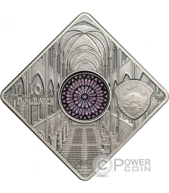 Notre Dame Cathedral Sacred Art Holy Windows Silver Coin