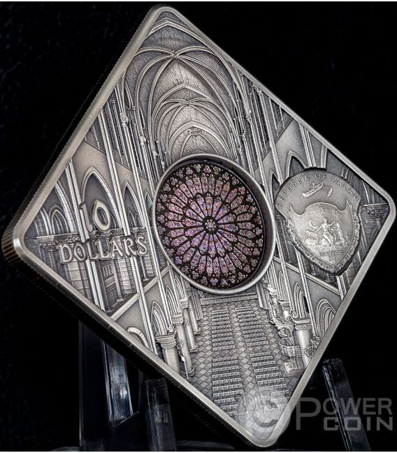 NOTRE DAME CATHEDRAL Dom Sacred Art Holy Windows Silber Münze 10$ Palau 2017