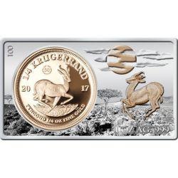KRUGERRAND 50 Anniversario 1/4 Oz Moneta Oro 1 Oz Silver Set South Africa 2017