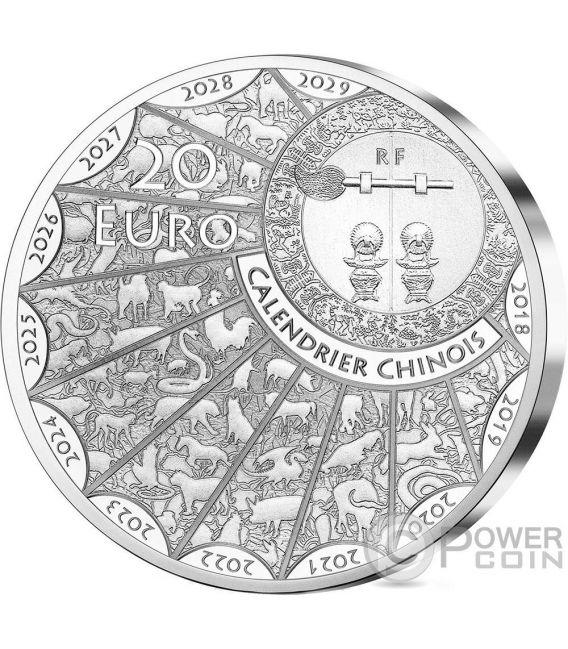 CHOW CHOW Perro Lunar Calendar Ultra High Relief 1 Oz Moneda Plata 20€ Euro France 2018