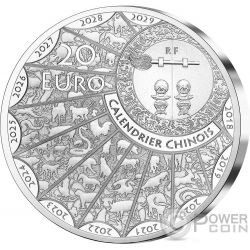 CHOW CHOW Perro Lunar Calendar Ultra High Relief 1 Oz Moneda Plata 20€ Euro France 2018