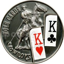 POKER HOLE CARDS Cowboys Texas Hold'em Coin 1$ Palau 2010