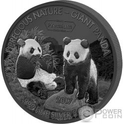 GIANT PANDA Gigante Precious Nature Palladium White Rhodium 5 Oz Moneda Plata 5000 Francos Benin 2017