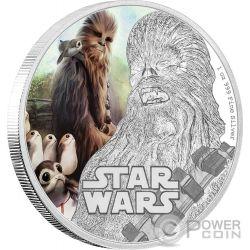 CHEWBACCA Star Wars Last Jedi 1 Oz Moneda Plata 2$ Niue 2017