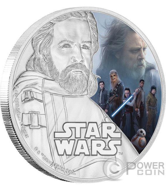 LUKE SKYWALKER Star Wars The Last Jedi 1 Oz Moneda Plata 2$ Niue 2017