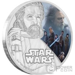 LUKE SKYWALKER Star Wars The Last Jedi 1 Oz Silver Coin 2$ Niue 2017