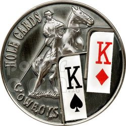 POKER HOLE CARDS Cowboys Texas Hold'em Moneda 1$ Palau 2010