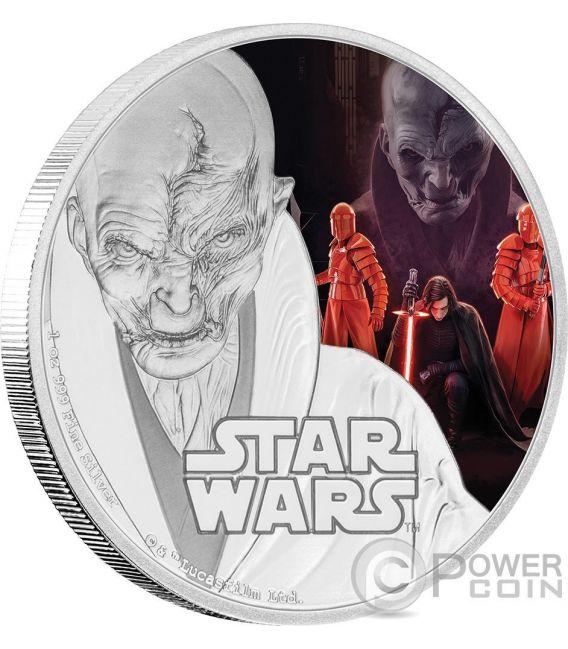 SUPREME LEADER SNOKE Lider Supremo Star Wars The Last Jedi 1 Oz Moneda Plata 2$ Niue 2017