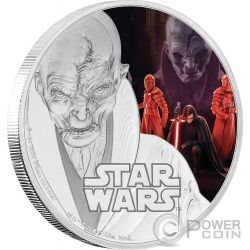 SUPREME LEADER SNOKE Lider Supremo Star Wars The Last Jedi 1 Oz Moneta Argento 2$ Niue 2017