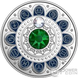 LIBRA Zodiac Swarovski Crystal Silver Coin 3$ Canada 2017