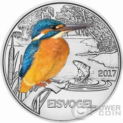 KINGFISHER Martin Pescador Colourful Creatures Glow In The Dark Moneda 3€ Euro Austria 2017