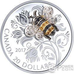 BEE Abeja Bejeweled Bugs 1 Oz Moneda Plata 20$ Canada 2017