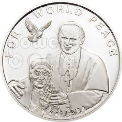 MADRE TERESA GIOVANNI PAOLO II Papa Moneta Argento 10$ Solomon Islands 2010