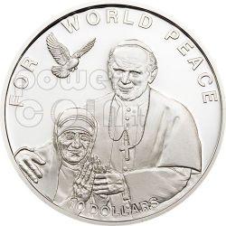 MOTHER TERESA JOHN PAUL II Pope Silver Coin 10$ Solomon Islands 2010
