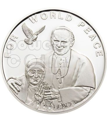 MADRE TERESA GIOVANNI PAOLO II Papa Moneta Argento 10$ Isole Salomone 2010