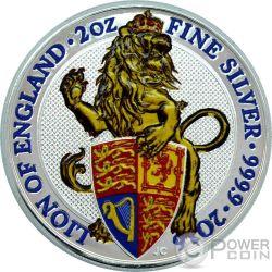LION QUEEN BEASTS Leone Regina Bestie Colorata 2 Oz Moneta Argento 5£ United Kingdom 2016