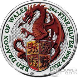 DRAGON Drago Queen Beasts Colorata 2 Oz Moneta Argento 5£ United Kingdom 2017