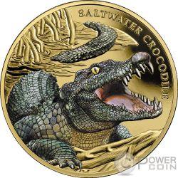 SALTWATER CROCODILE Coccodrillo Acqua Salata 1 Oz Moneta Oro 100$ Niue 2018