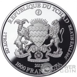 SPITTER Gargoyles and Grotesques Notre Dame de Paris Proof 1 Oz Silver Coin 1000 Francs Chad 2017