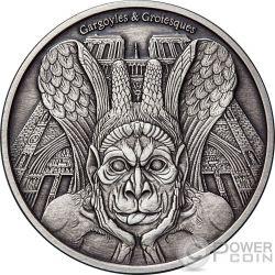 SPITTER Gargoyles and Grotesques Notre Dame de Paris Acabado Antiguo 1 Oz Moneda Plata 1000 Francos Chad 2017
