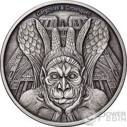 SPITTER Gargoyles and Grotesques Notre Dame de Paris Finitura Antica 1 Oz Moneta Argento 1000 Franchi Chad 2017