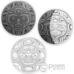 PHASES OF THE MOON Fasi Luna Set 3 x 2 Oz Moneta Argento Canada 2017