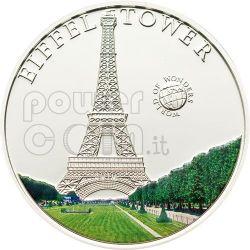 EIFFEL TOWER World Of Wonders Silver Coin 5$ Palau 2010