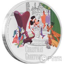 CHRISTMAS GREETINGS Topolino Seasons Disney 1 Oz Moneta Argento 2$ Niue 2017