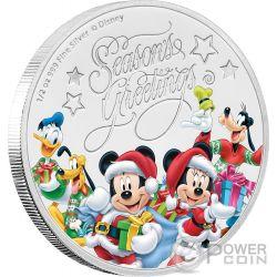 SEASONS GREETINGS Topolino Disney 1/2 Oz Moneta Argento 1$ Niue 2017