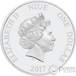 SEASONS GREETINGS Mickey Mouse Disney 1/2 Oz Moneda Plata 1$ Niue 2017