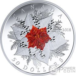 HOLIDAY SPLENDOUR Poinsetia Flor de Navidad 5 Oz Moneda Plata 20$ Canada 2018