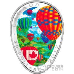 HOT AIR BALLOONS Globo Aire Caliente 1 Oz Moneda Plata 20$ Canada 2017