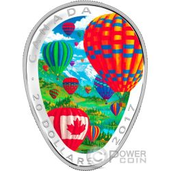 HOT AIR BALLOONS Heißluftballon 1 Oz Silber Münze 20$ Canada 2017