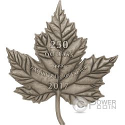MAPLE LEAF Foglia Acero Cut Out Finitura Antica 1 Kg Kilo Moneta Argento 250$ Canada 2017