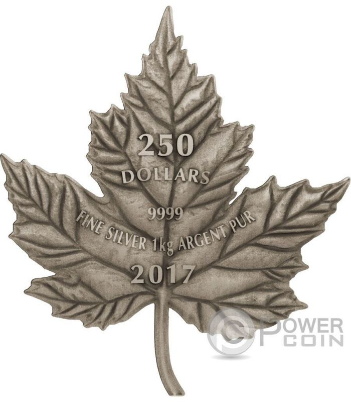 Maple Leaf Cut Out Antique Finish 1 Kg Kilo Silver Coin