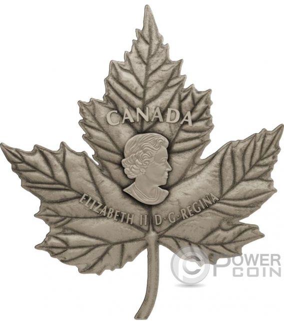 MAPLE LEAF Cut Out Antique Finish 1 Kg Kilo Silver Coin 250$ Canada 2017