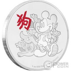 YEAR OF THE DOG Anno Cane Mickey Mouse Lunar Coin Collection Disney 1 Oz Moneta Argento 2$ Niue 2017