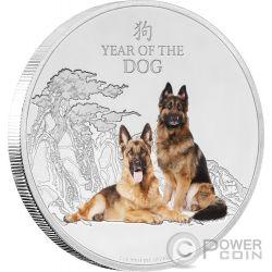 LUNAR YEAR OF THE DOG Anno Lunare Cane 1 Oz Moneta Argento 2$ Niue 2018