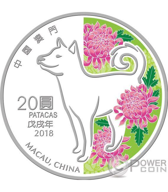 DOG Jahr de Hund Lunar Year 1 Oz Silber Münze 20 Patacas Macao Macau 2018