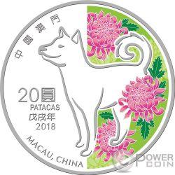 DOG Cane Lunar Year 1 Oz Moneta Argento 20 Patacas Macao Macau 2018
