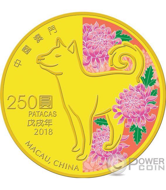 DOG Cane Lunar Year Moneta Oro 250 Patacas Macao Macau 2018