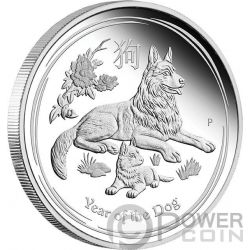 DOG Cane Lunar Year Series 1 Oz Moneta Argento 1$ Australia 2018