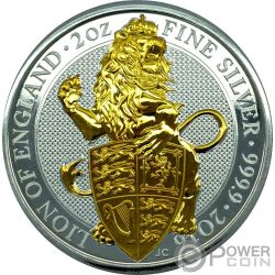 LION QUEEN BEASTS Gilded 2 Oz Silver Coin 5£ United Kingdom 2016
