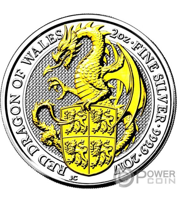 DRAGON Queen Beasts Gilded 2 Oz Silver Coin 5£ United Kingdom 2017