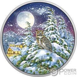GREAT HORNED OWL Animals In The Moonlight Glow In The Dark 2 Oz Silver Coin 30$ Canada 2017