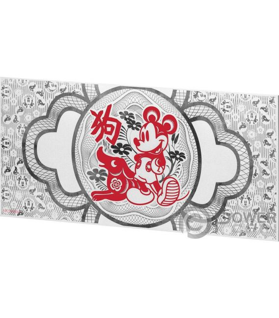 YEAR OF THE DOG Anno Cane Mickey Mouse Disney Lunar Foil Collection Banconota Argento 20 Cents Niue 2018